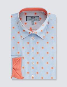 Women's Blue & Orange Dobby Fitted 3 Quarter Sleeve Shirt