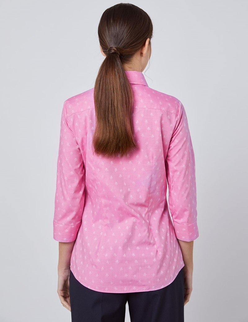 Women's Pink Dobby Fitted 3 Quarter Sleeve Shirt