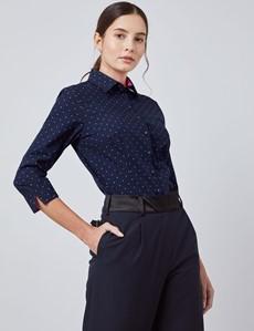 Women's Navy & Pink Dobby Spot Fitted 3 Quarter Sleeve Shirt