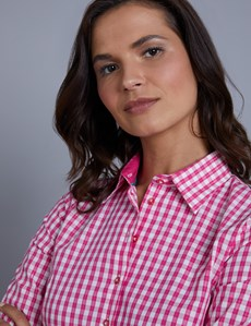 Women's Pink & White Gingham Check Fitted Shirt - 3 Quarter Sleeve - Low Collar