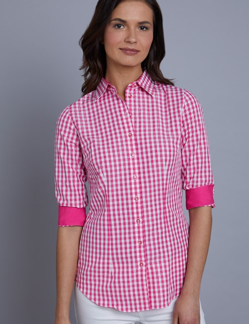 Bluse – Slim Fit – 3/4 Arm – Baumwollstretch – Gingham Picknick