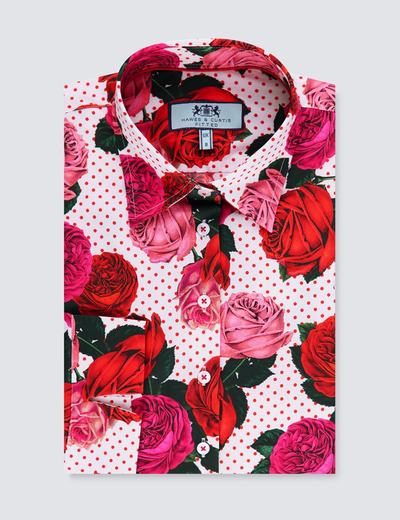 Women's White & Red Floral Spot Fitted Shirt -  3 Quarter Sleeve - Low Collar
