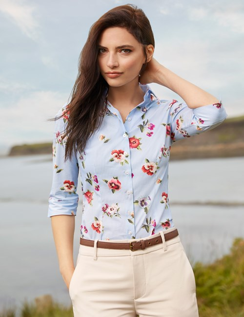 Women's Blue Pansies Print Fitted Shirt -  3 Quarter Sleeve - Low Collar