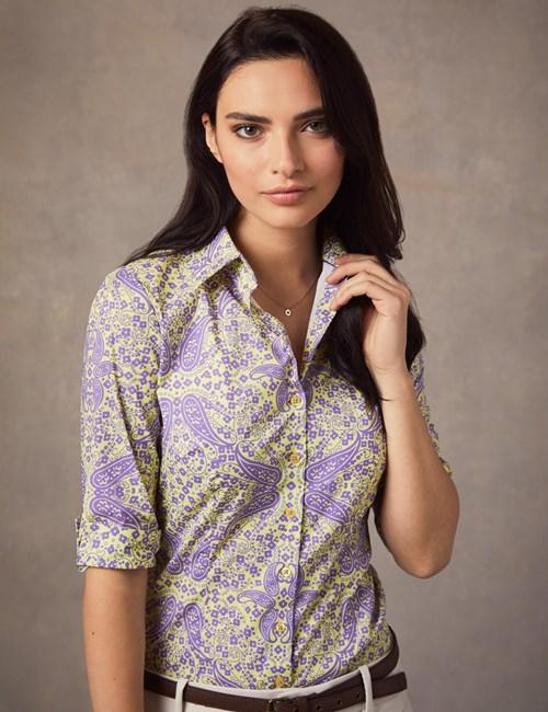 Women's Purple & Yellow Paisley Fitted 3 Quarter Sleeve Shirt