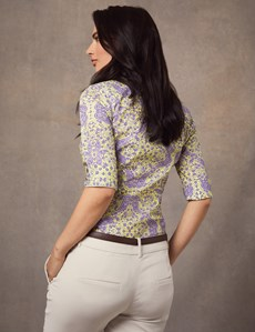 Women's Purple & Yellow Paisley Fitted 3 Quarter Sleeve Shirt