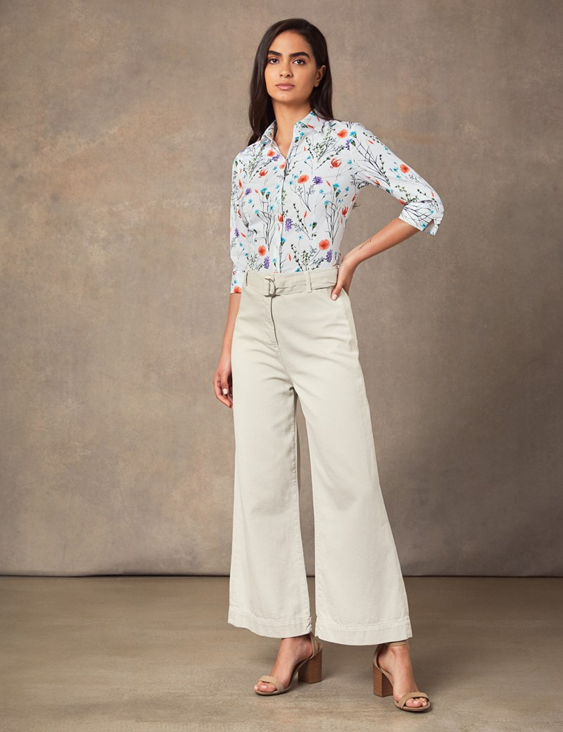 Women's White Floral Fitted 3 Quarter Sleeve Shirt