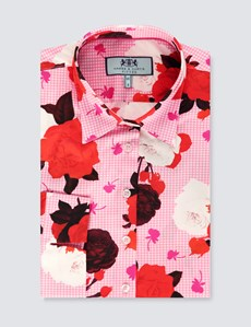 Women's Pink & Burgundy Gingham Rose Print Fitted 3 Quarter Sleeve Shirt