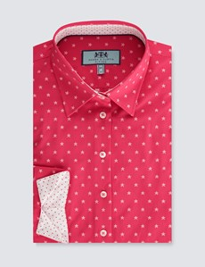 Women's Pink & White Star Print Fitted 3 Quarter Sleeve Shirt