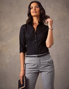 Women's Black Fitted 3 Quarter Sleeve Shirt - Low Collar