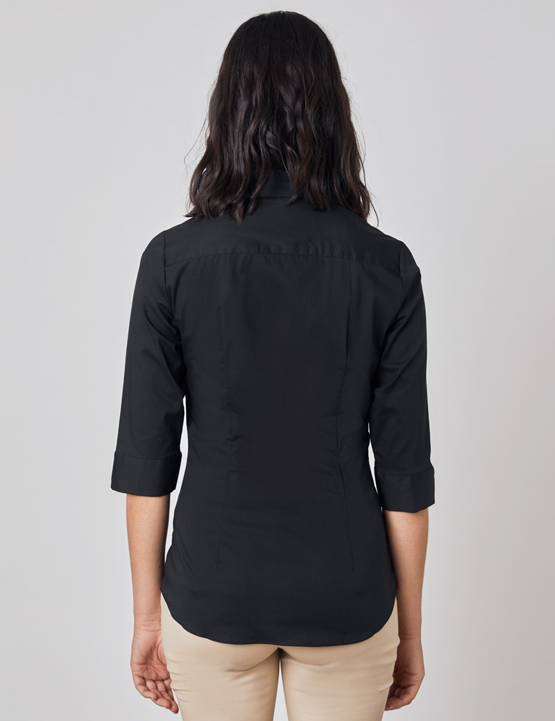 Women's Black Fitted 3 Quarter Sleeve Cotton Shirt