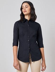 Women's Black Fitted 3 Quarter Sleeve Cotton Shirt