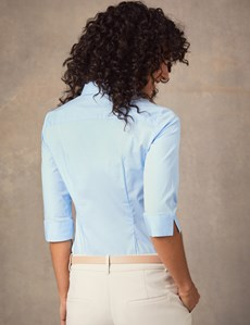 Women's Light Blue Fitted Three Quarter Sleeve Shirt - Low Collar