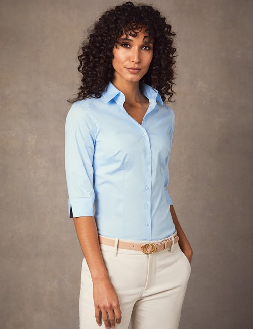 Women's Light Blue Fitted Three Quarter Sleeve Shirt - Low Collar