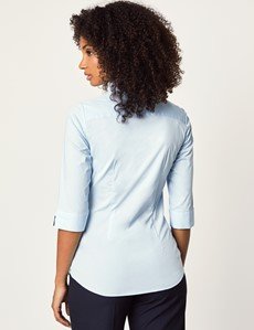 Women's Ice Blue Fitted Three Quarter Sleeve Shirt - Low Collar