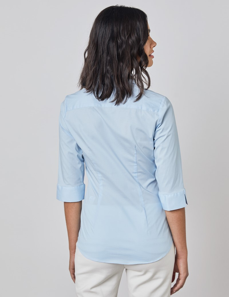 Women's Ice Blue Fitted Three Quarter Sleeve Cotton Shirt