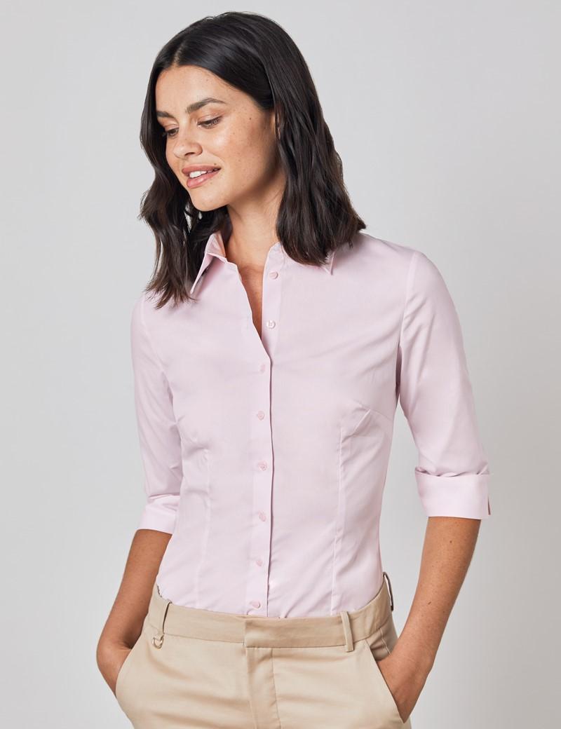 Women's Pink Fitted 3 Quarter Sleeve Cotton Shirt