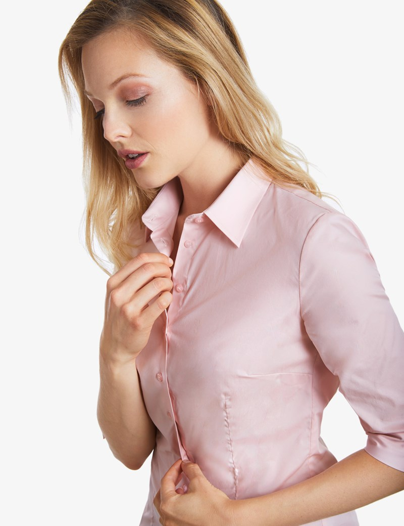 Women's Rose Pink Fitted 3 Quarter Sleeve Cotton Shirt - Low Collar
