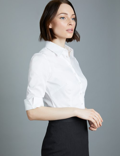 Women's White Fitted 3 Quarter Sleeve Shirt