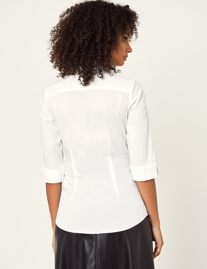 Women's White Fitted 3 Quarter Sleeve Cotton Shirt - Low Collar