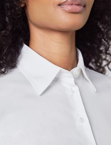 Women's White Fitted 3 Quarter Sleeve Cotton Shirt