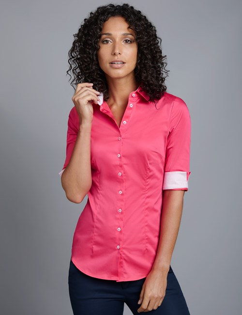Women's Hot Coral Fitted 3 Quarter Sleeve Shirt - Low Collar