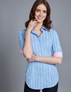 Women's Blue & White Multi Stripe Fitted Shirt -  3 Quarter Sleeve
