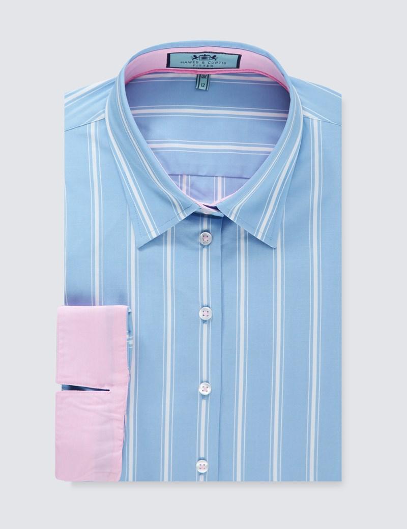 Women's Blue & White Multi Stripe Fitted Shirt -  3 Quarter Sleeve