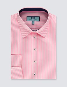 Women's White & Pink Bengal Stripe Fitted Three Quarter Sleeve Shirt