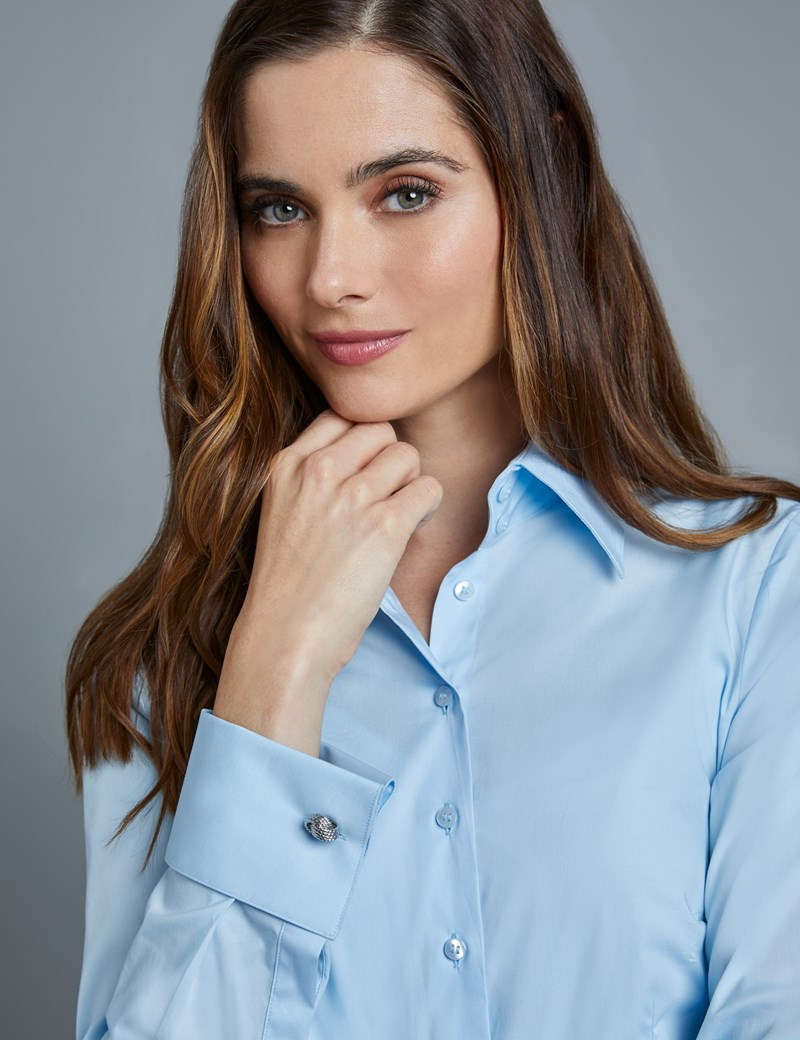 Women's Ice Blue Fitted Vintage Hipster Shirt with High Long Collar - French Cuff