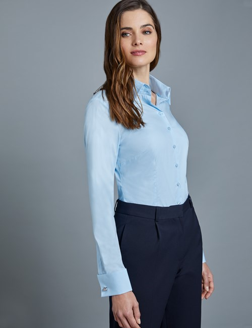 Women's Ice Blue Fitted Vintage Hipster Shirt with High Long Collar - Double Cuff