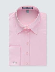 Women's Light Pink Fitted Vintage Hipster Shirt with High Long Collar - French Cuff