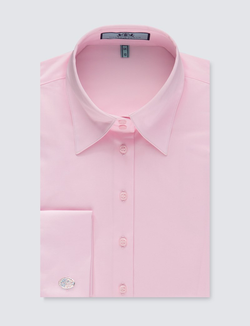Women's Light Pink Fitted Vintage Hipster Shirt with High Long Collar - Double Cuff