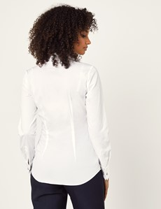 Women's White Fitted Vintage Hipster Shirt with High Long Collar - French Cuff