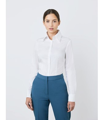 Women's White Fitted Vintage Hipster Shirt with High Long Collar - Double Cuff