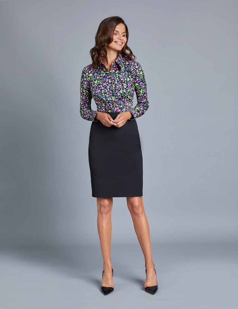 Women's Black & Fuchsia Floral Fitted Vintage Hipster Shirt with High Long Collar - Single Cuff