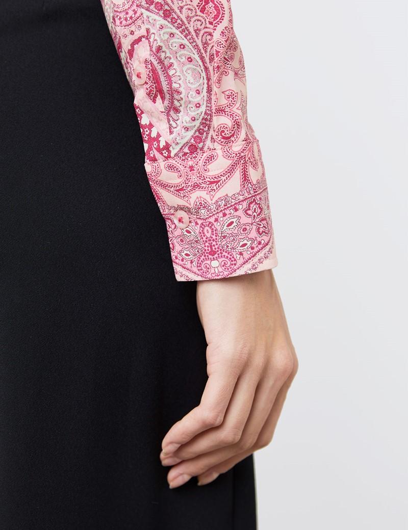 Women's Pink & Fuchsia Vintage Paisley Fitted Shirt - Single Cuff