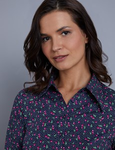 Women's Navy & Pink Vintage Cherry Spot Print Fitted Shirt - Single Cuff