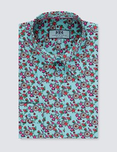 Women's Aqua Vintage Floral Fitted Shirt - Single Cuff