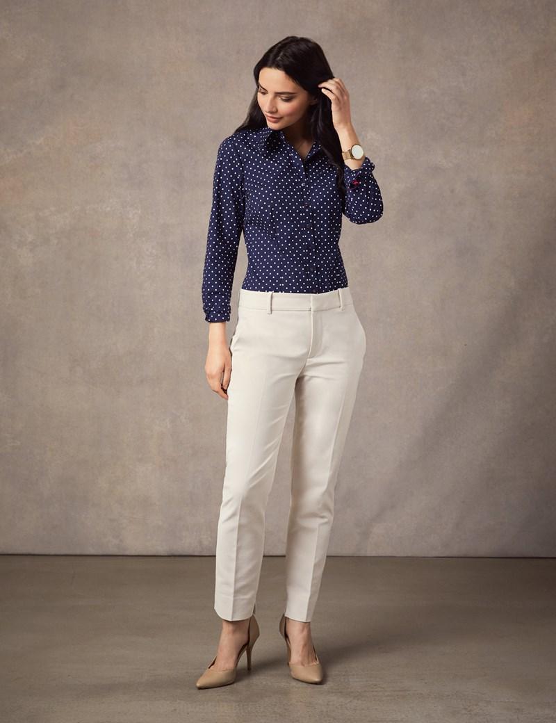 Bluse – Slim Fit – Baumwollstretch – Vintage Kragen – Polkadots