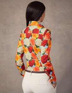 Women's Red & Orange Floral Stretch Fitted Shirt - Single Cuff