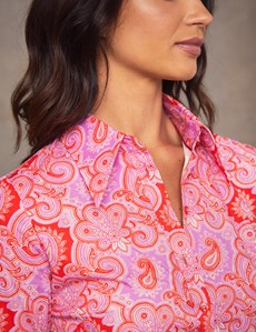 Women's Red & Pink Paisley Fitted Shirt - Single Cuff