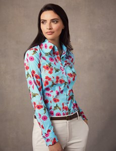 Women's Light Blue & Red Floral Stretch Fitted Shirt - Single Cuff