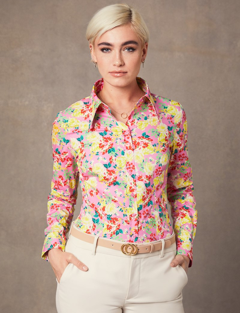 Women's Pink & Red Floral Print Fitted Shirt - Single Cuff