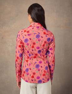 Women's Coral & Lilac Floral Fitted Shirt With Vintage Collar - Single Cuff