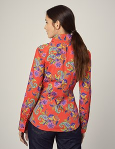 Women's Coral Paisley Floral Fitted Shirt - Single Cuff