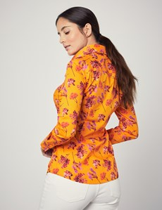 Women's Orange & Red Floral Fitted Shirt With Vintage Collar - Single Cuff