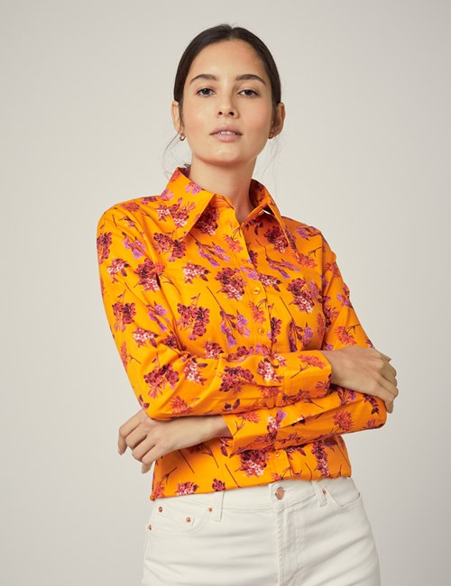 Women's Orange & Red Floral Fitted Shirt - Single Cuff