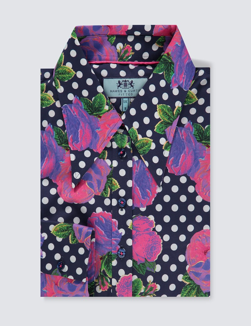 Bluse – Slim Fit – Baumwollstretch – Vintage-Kragen – Polkadots & roses
