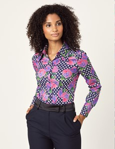 Women's Navy & Purple Floral Fitted Shirt With Vintage Collar - Single Cuff