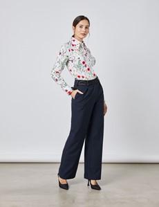 Bluse – Slim Fit – Baumwollstretch – Vintage-Kragen – Zartes Blumendesign